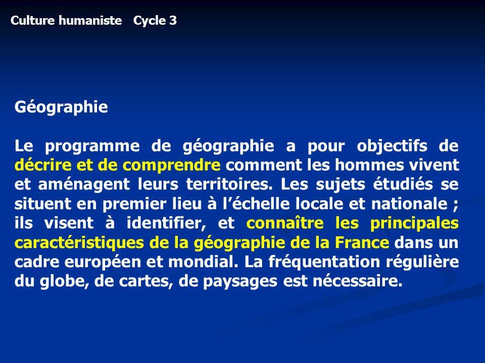 Culture humaniste Cycle 3