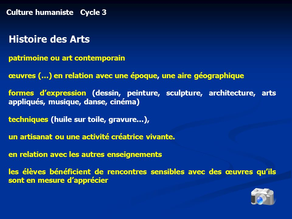Histoire des Arts Culture humaniste Cycle 3