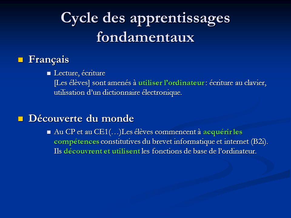 Cycle des apprentissages fondamentaux