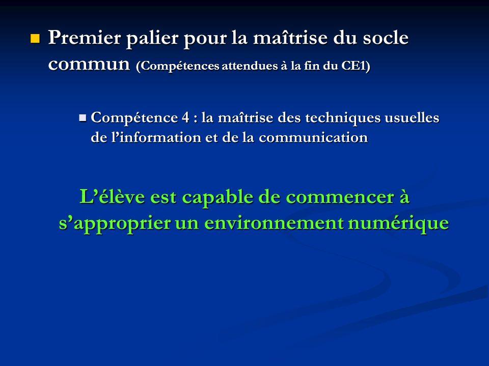 Premier palier pour la maîtrise du socle commun (Compétences attendues à la fin du CE1)