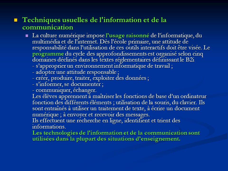 Techniques usuelles de l information et de la communication