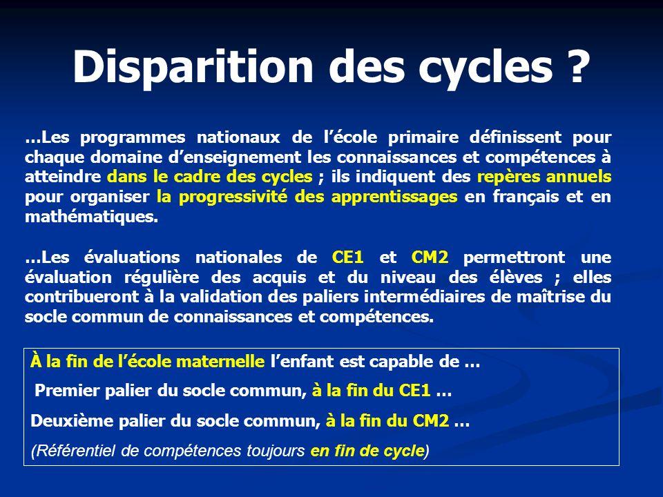 Disparition des cycles