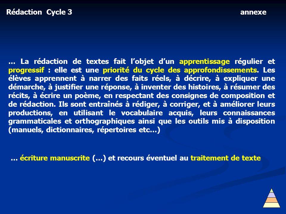 Rédaction Cycle 3 annexe.
