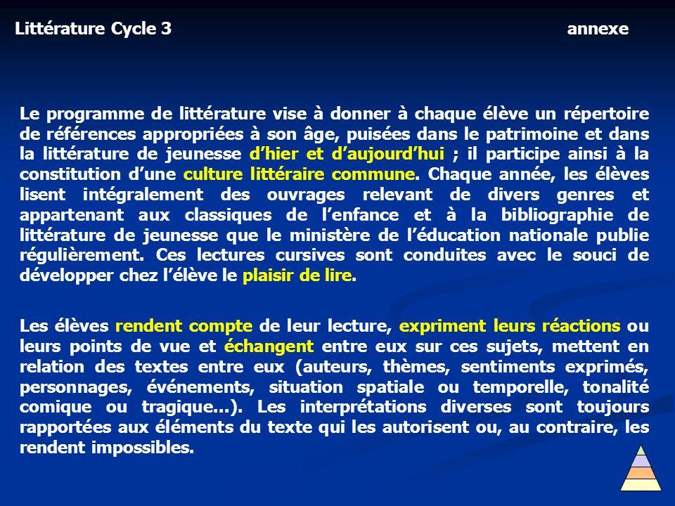 Littérature Cycle 3 annexe.