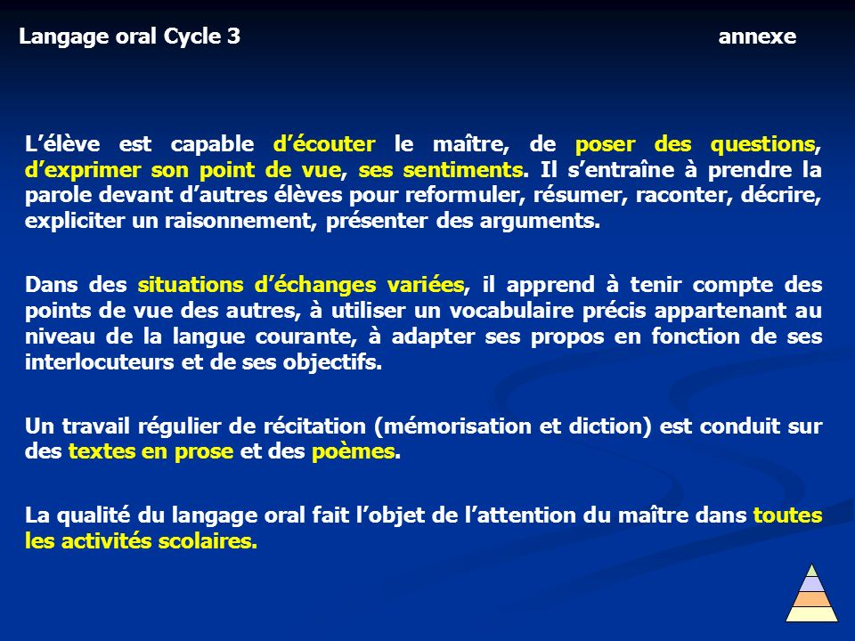 Langage oral Cycle 3 annexe.