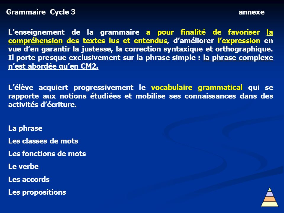Grammaire Cycle 3 annexe.