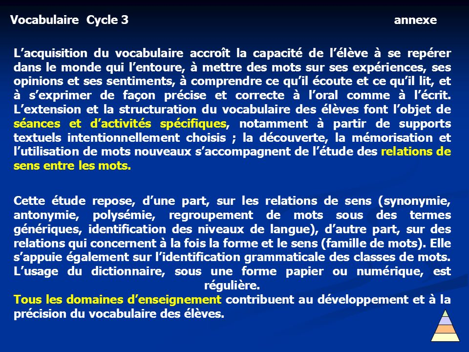 Vocabulaire Cycle 3 annexe.