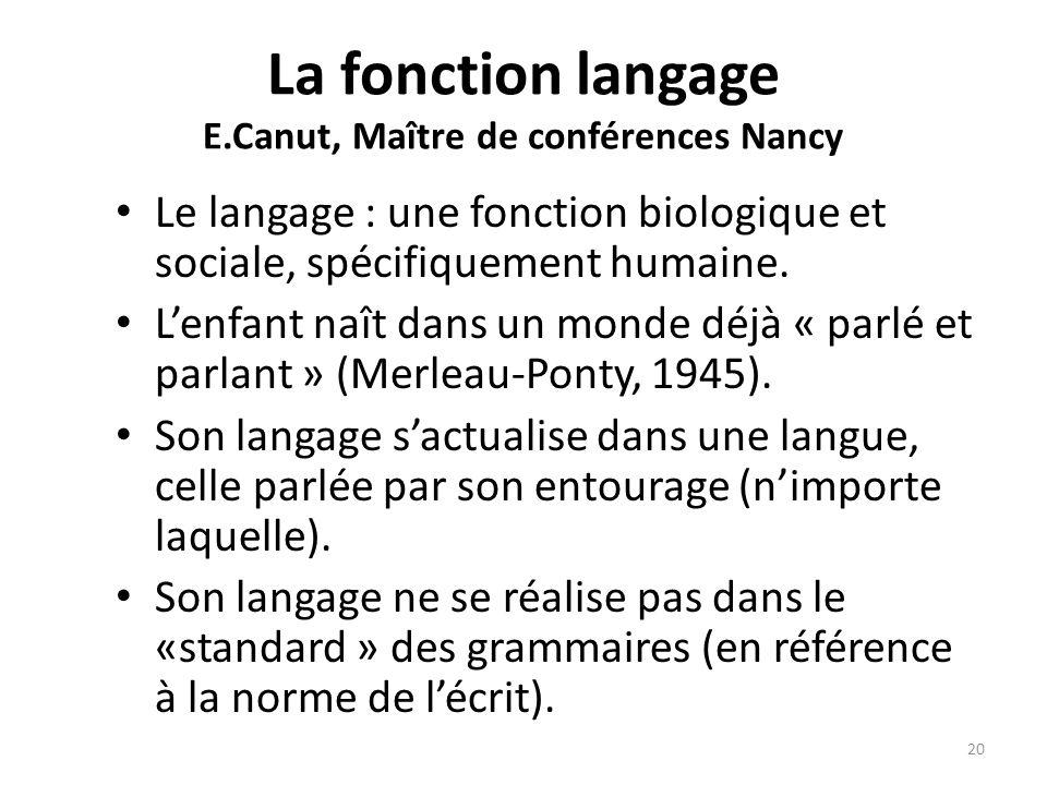 La fonction langage E.Canut, Maître de conférences Nancy