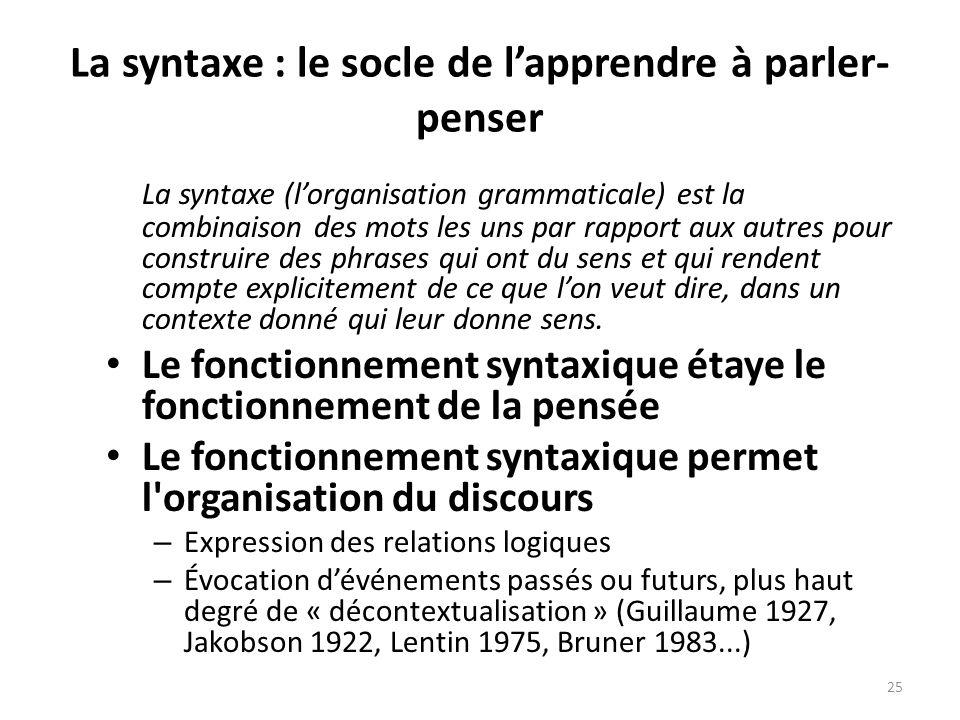 La syntaxe : le socle de l'apprendre à parler-penser