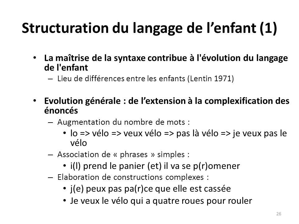 Structuration du langage de l'enfant (1)