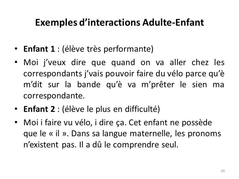 Exemples d'interactions Adulte-Enfant