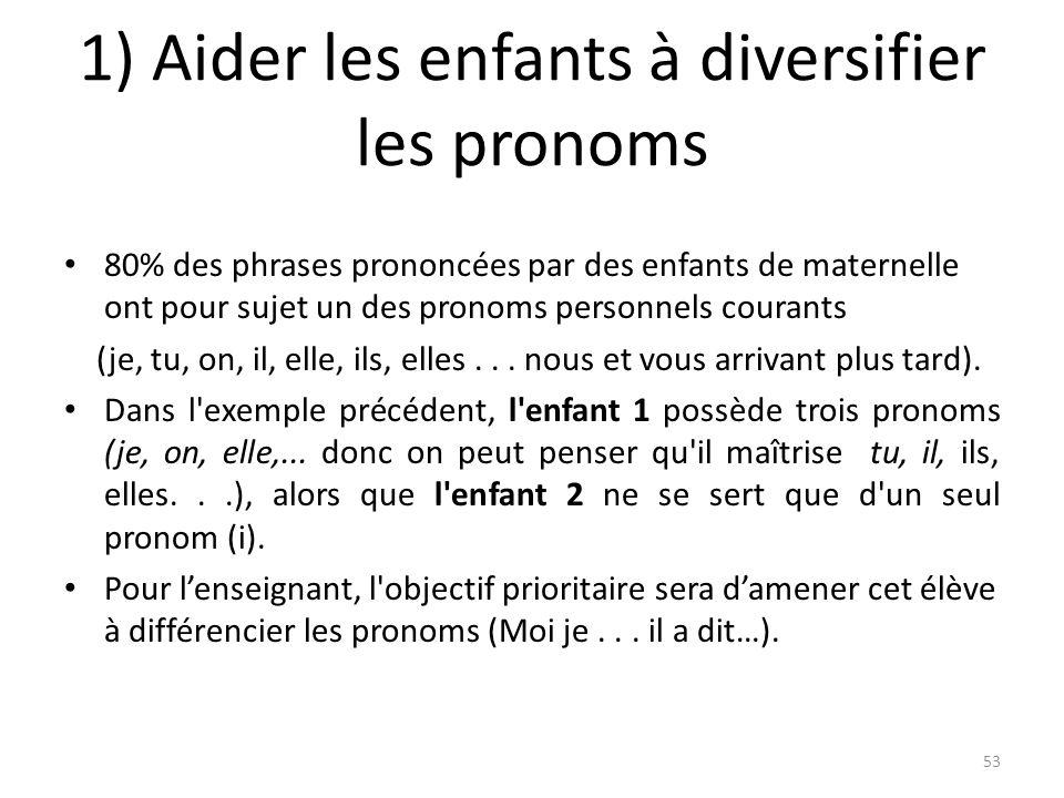 1) Aider les enfants à diversifier les pronoms