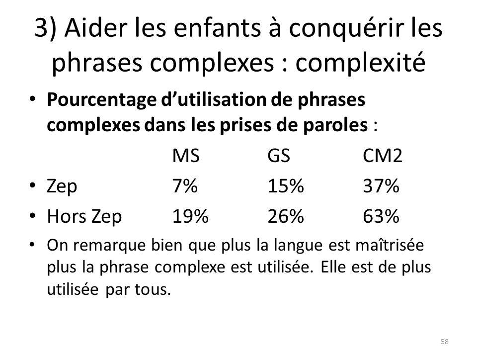 3) Aider les enfants à conquérir les phrases complexes : complexité
