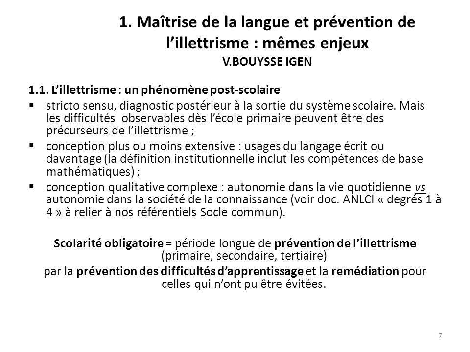 1. Maîtrise de la langue et prévention de l'illettrisme : mêmes enjeux V.BOUYSSE IGEN
