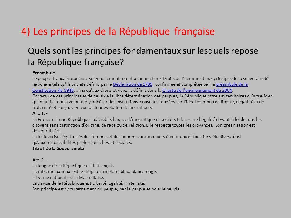 4) Les principes de la République française