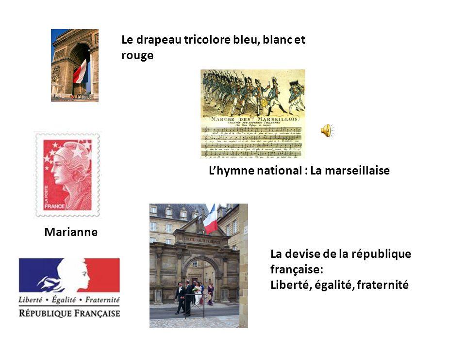 Le drapeau tricolore bleu, blanc et rouge