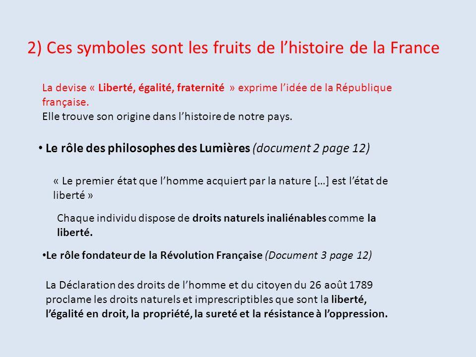 2) Ces symboles sont les fruits de l'histoire de la France