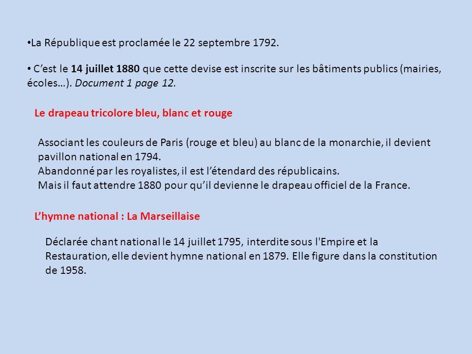 La République est proclamée le 22 septembre 1792.