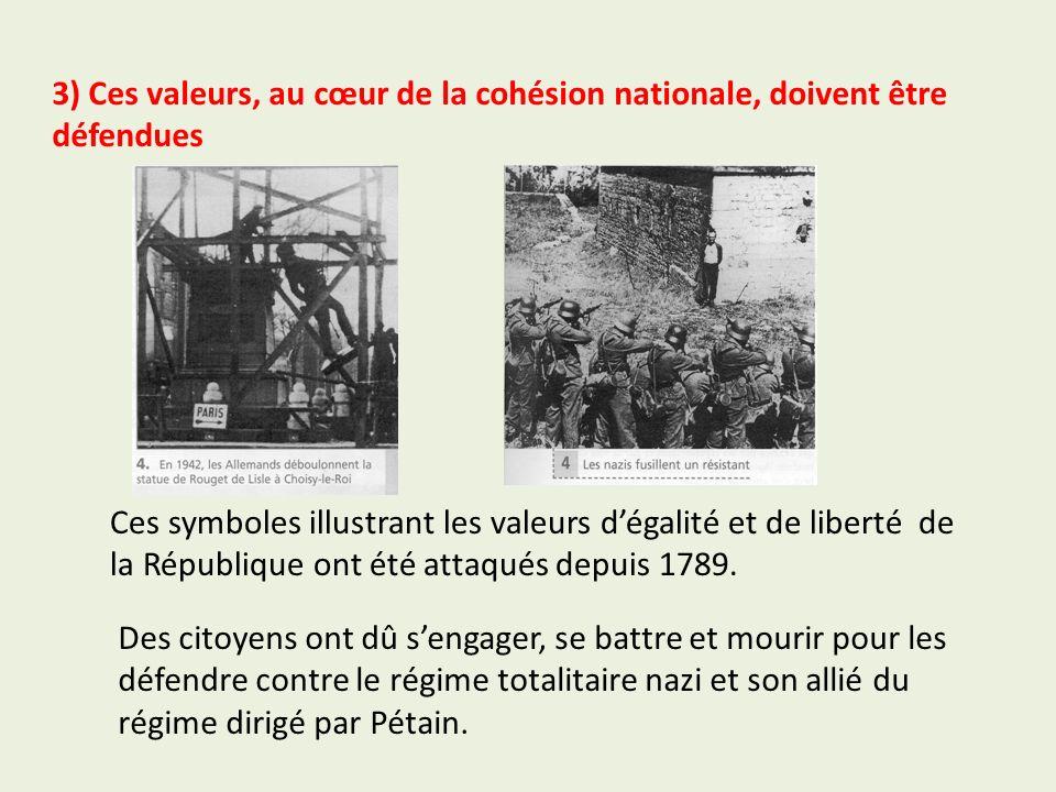 3) Ces valeurs, au cœur de la cohésion nationale, doivent être défendues