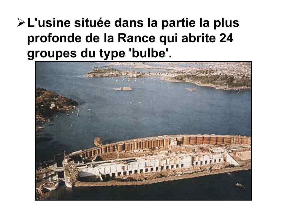 L usine située dans la partie la plus profonde de la Rance qui abrite 24 groupes du type bulbe .