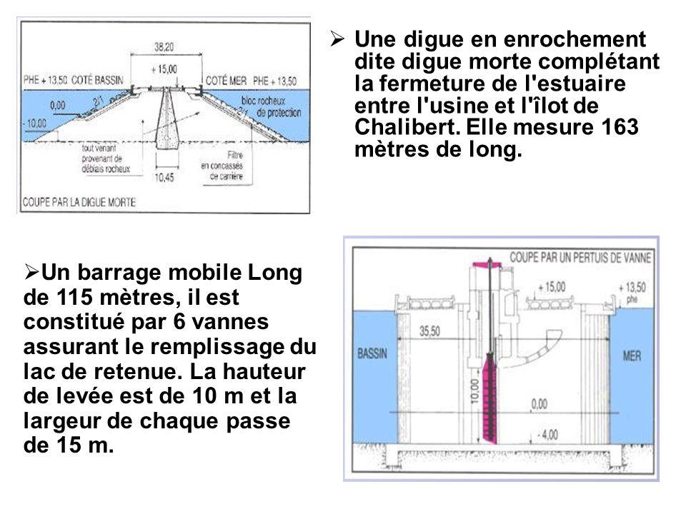 Une digue en enrochement dite digue morte complétant la fermeture de l estuaire entre l usine et l îlot de Chalibert. Elle mesure 163 mètres de long.
