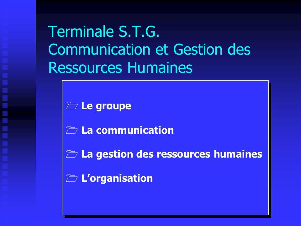 Terminale S.T.G. Communication et Gestion des Ressources Humaines