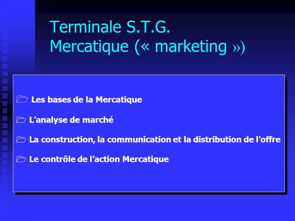 Terminale S.T.G. Mercatique (« marketing »)