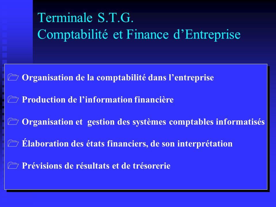 Terminale S.T.G. Comptabilité et Finance d'Entreprise