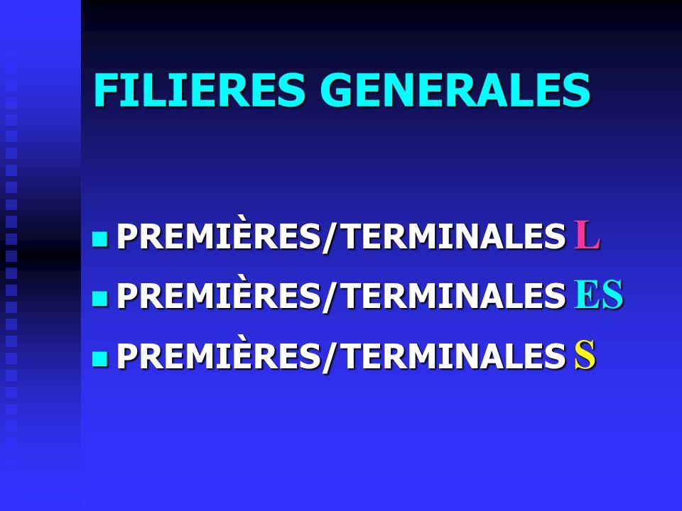 FILIERES GENERALES PREMIÈRES/TERMINALES L PREMIÈRES/TERMINALES ES