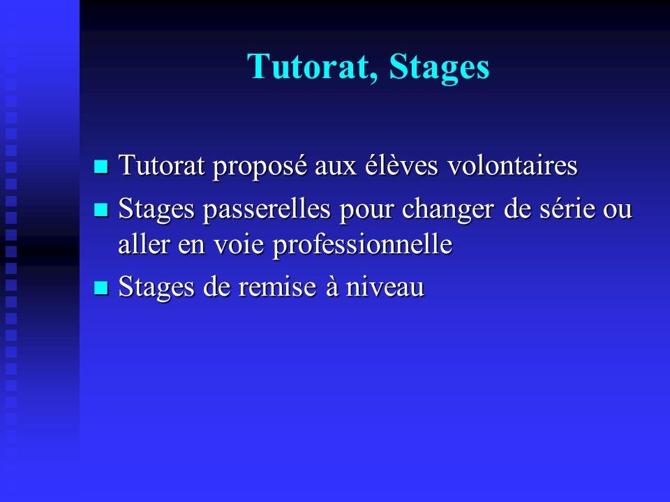 Tutorat, Stages Tutorat proposé aux élèves volontaires
