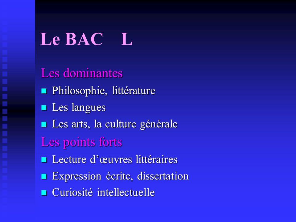 Le BAC L Les dominantes Les points forts Philosophie, littérature