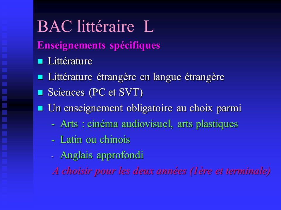 BAC littéraire L Enseignements spécifiques Littérature