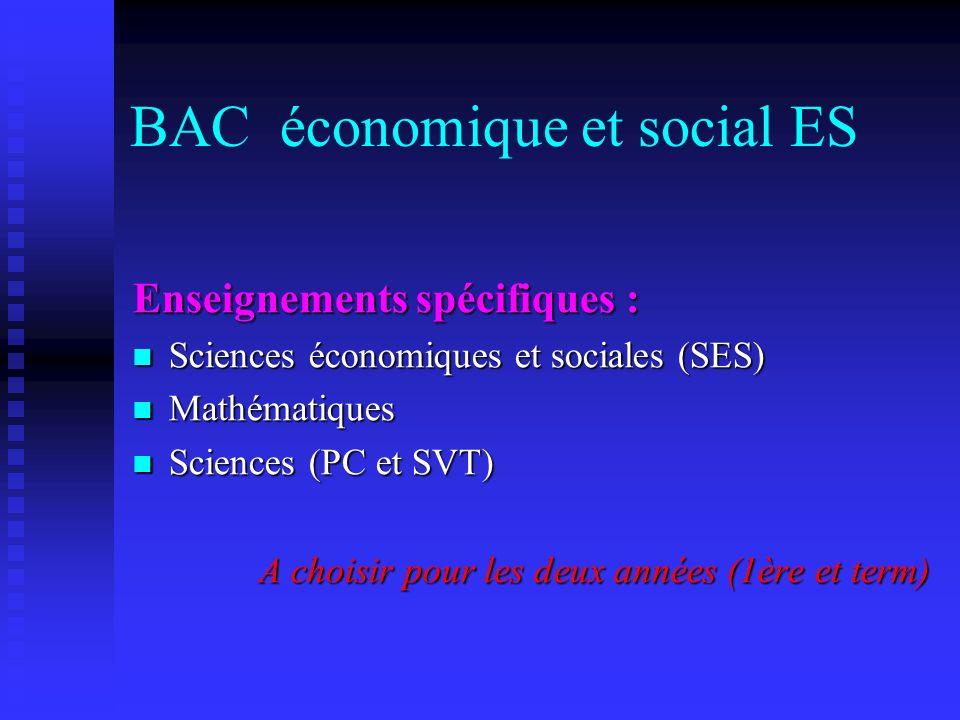 BAC économique et social ES
