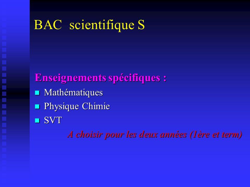 BAC scientifique S Enseignements spécifiques : Mathématiques