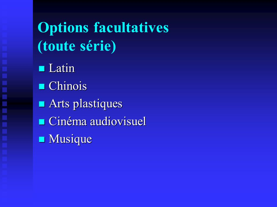 Options facultatives (toute série)