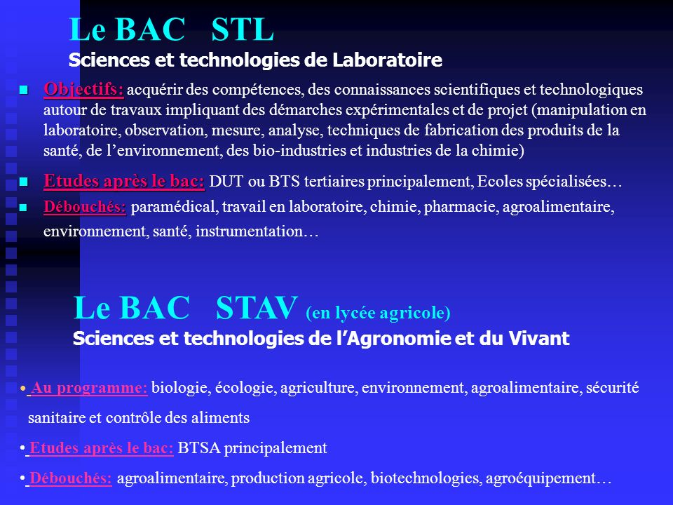 Le BAC STL Sciences et technologies de Laboratoire