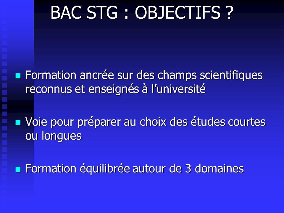 BAC STG : OBJECTIFS Formation ancrée sur des champs scientifiques reconnus et enseignés à l'université.