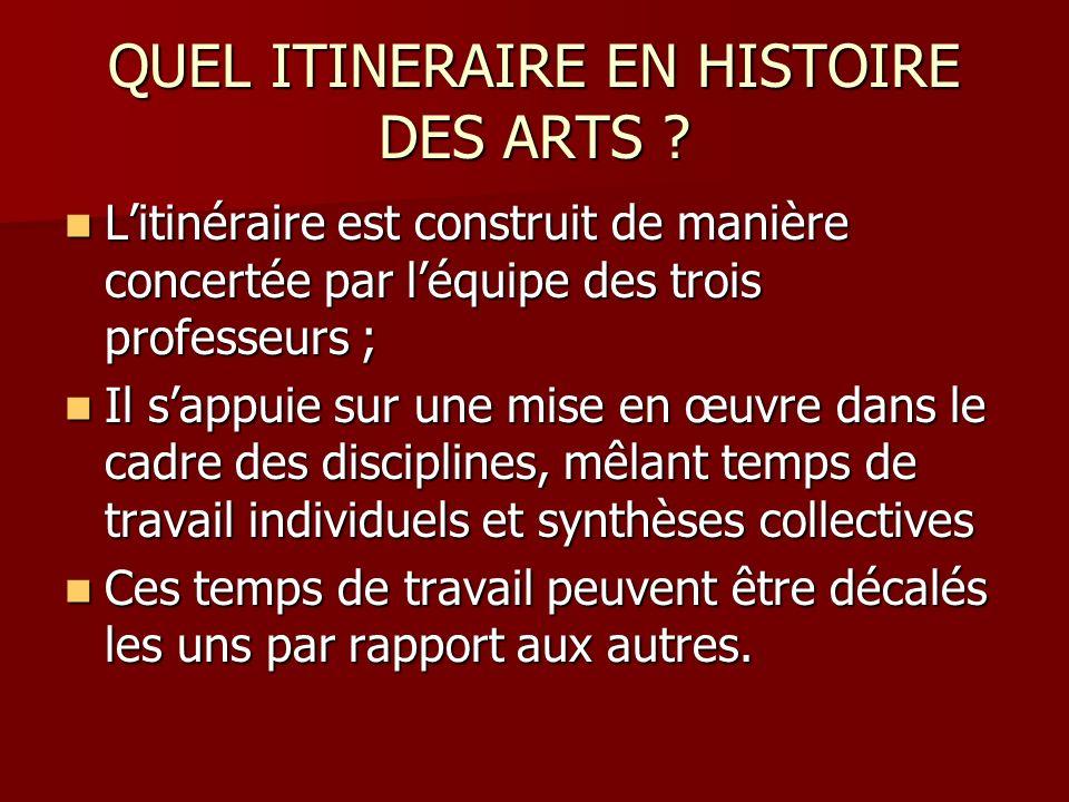QUEL ITINERAIRE EN HISTOIRE DES ARTS