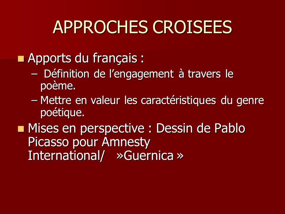 APPROCHES CROISEES Apports du français :