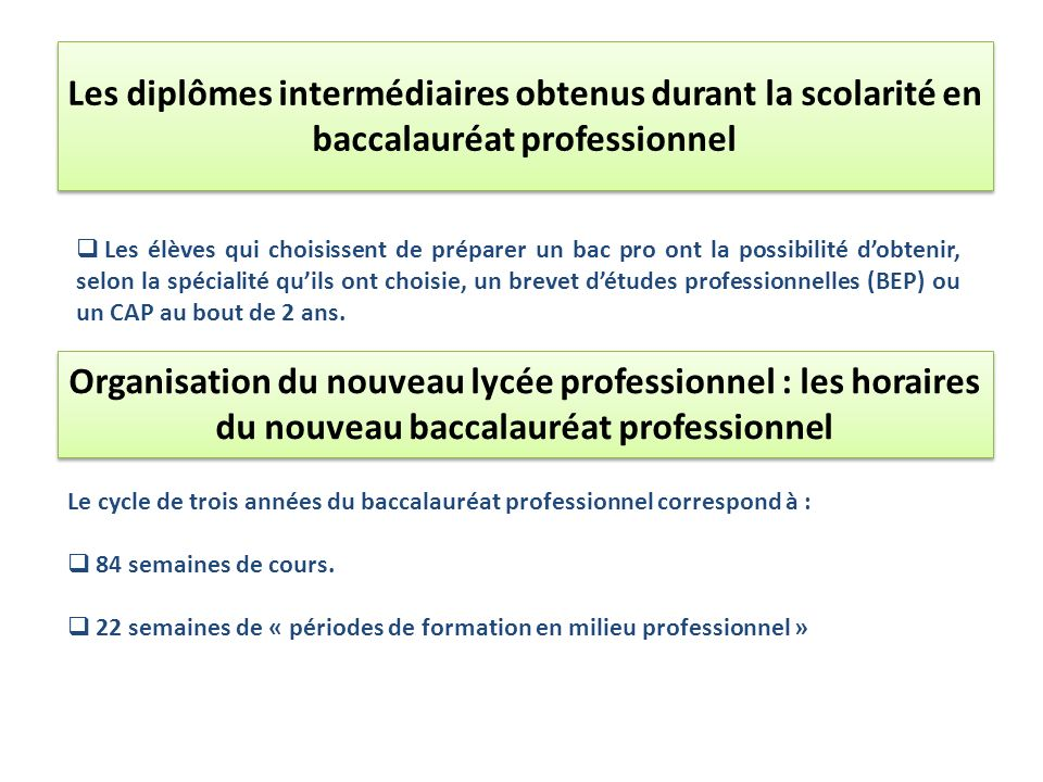 Les diplômes intermédiaires obtenus durant la scolarité en baccalauréat professionnel