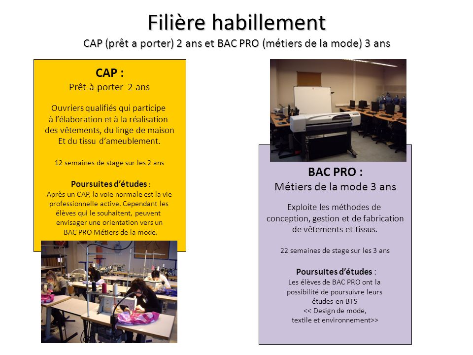 Filière habillement CAP (prêt a porter) 2 ans et BAC PRO (métiers de la mode) 3 ans