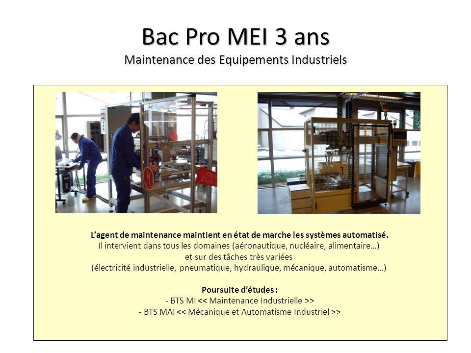 Bac Pro MEI 3 ans Maintenance des Equipements Industriels