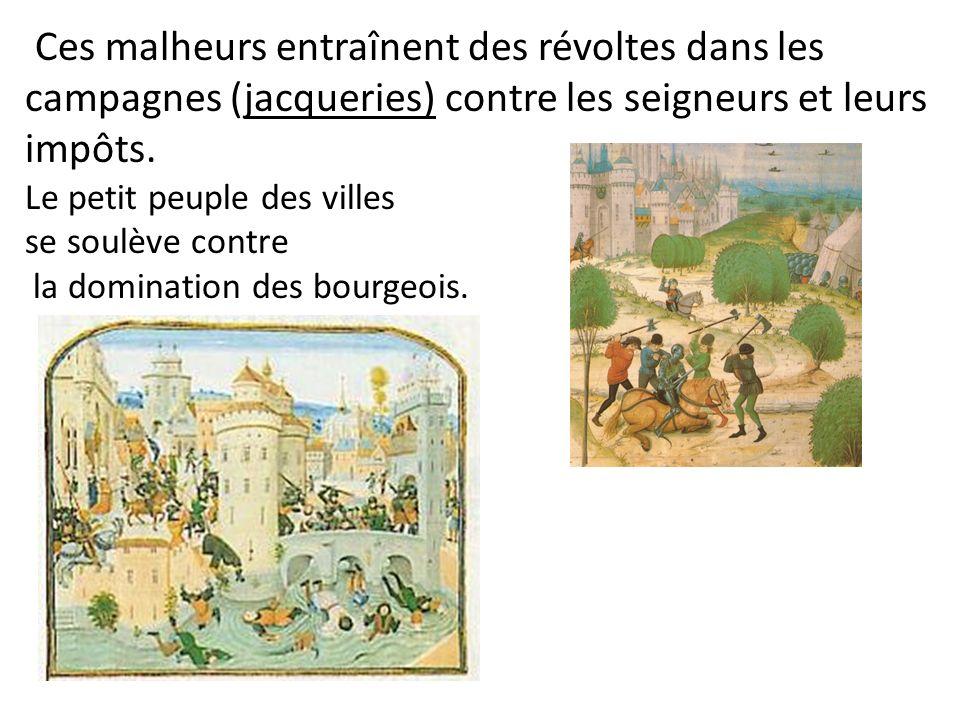 Ces malheurs entraînent des révoltes dans les campagnes (jacqueries) contre les seigneurs et leurs impôts.
