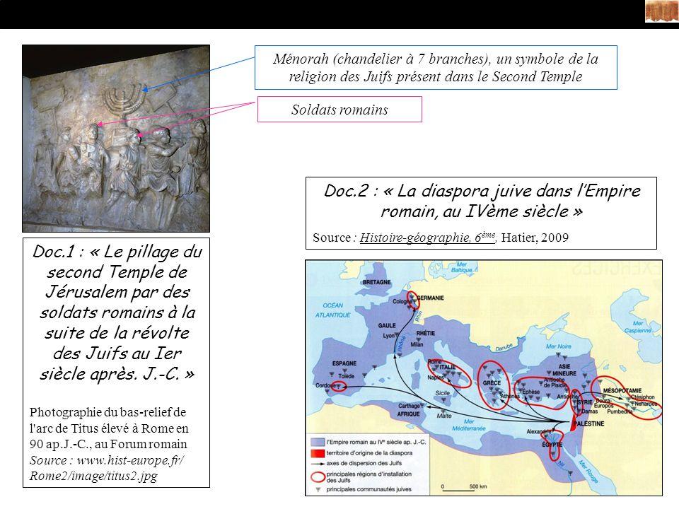Doc.2 : « La diaspora juive dans l'Empire romain, au IVème siècle »