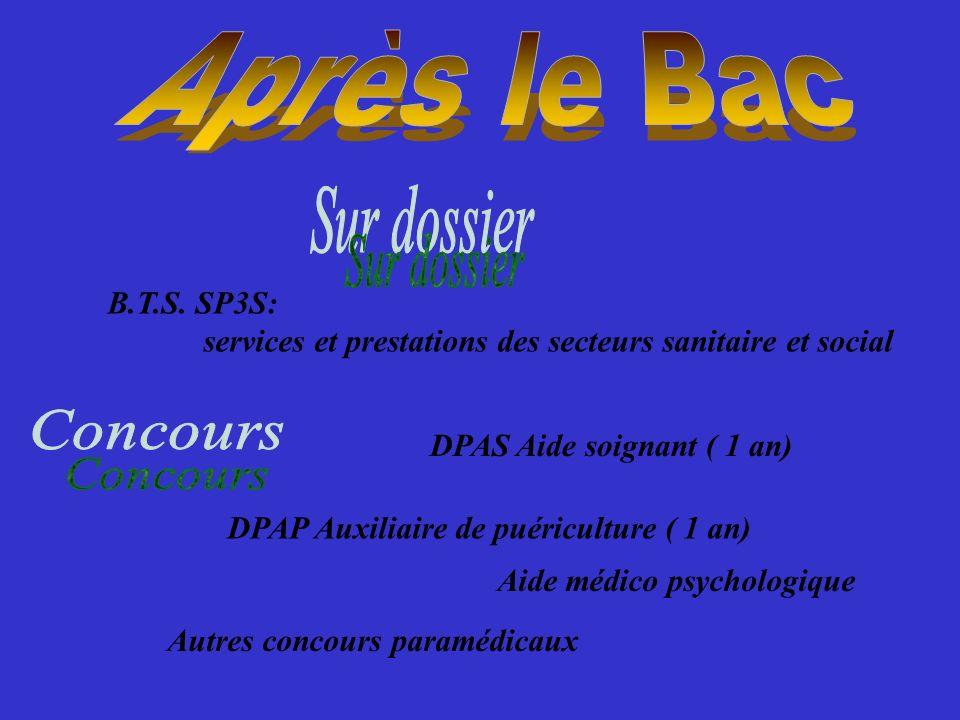 Après le Bac Sur dossier B.T.S. SP3S: