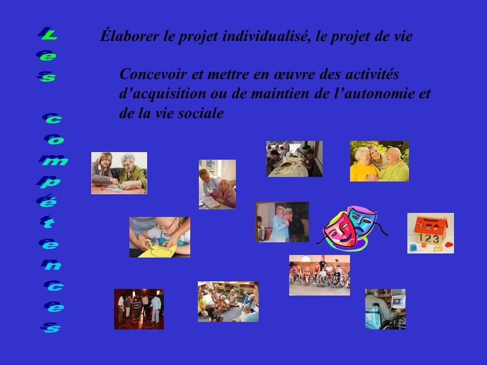 Les compétences Élaborer le projet individualisé, le projet de vie