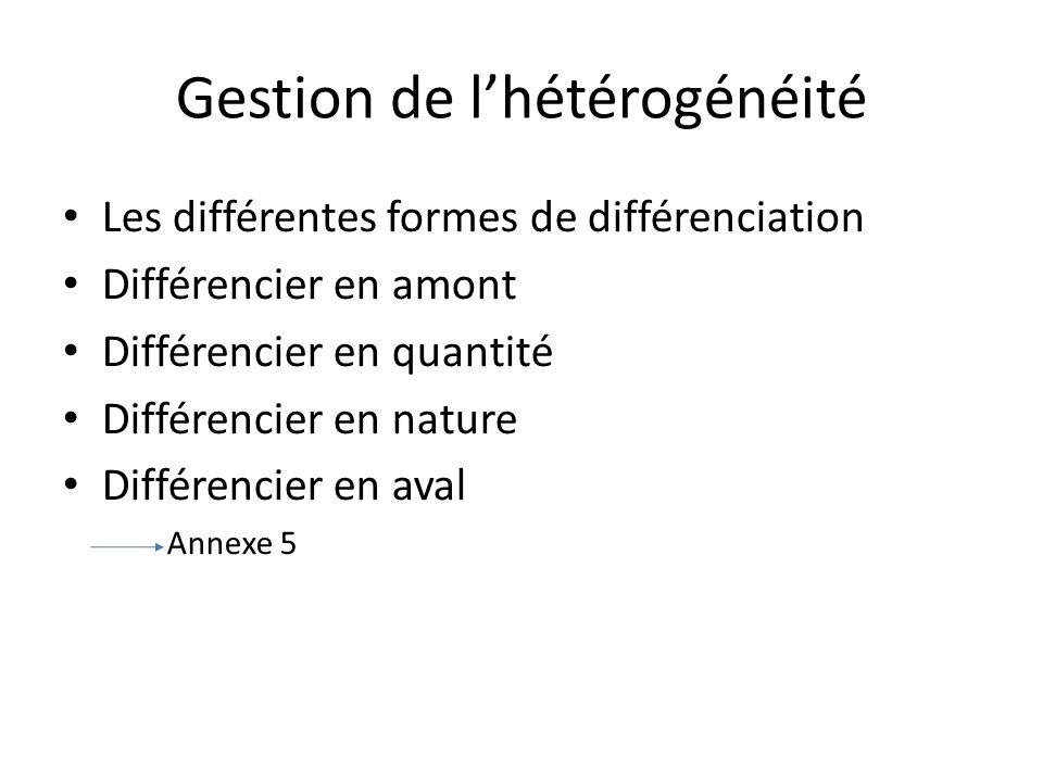 Gestion de l'hétérogénéité