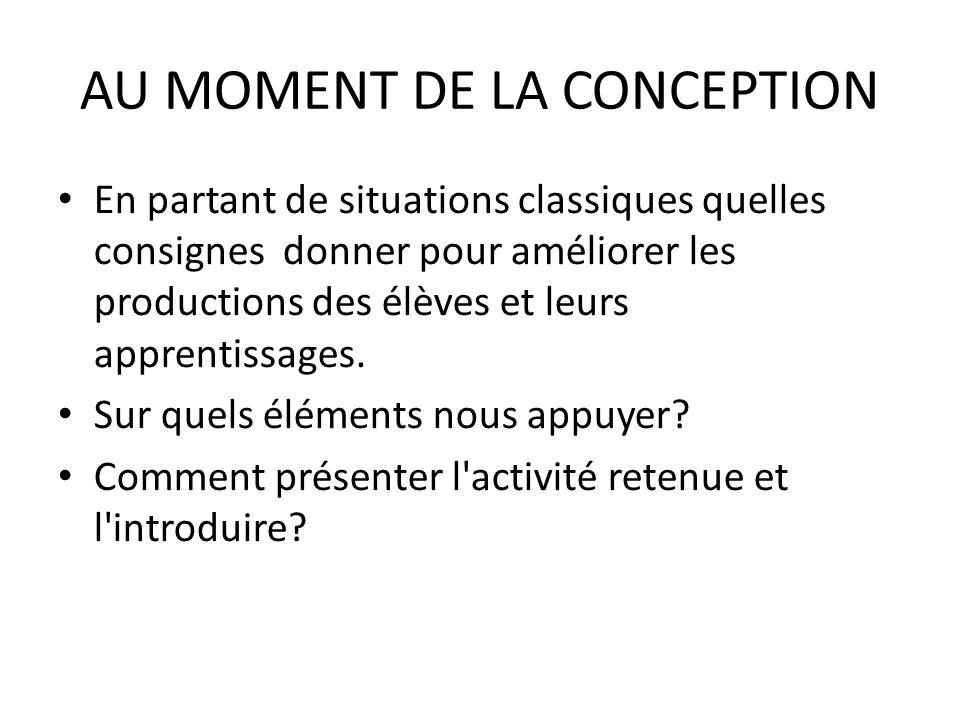 AU MOMENT DE LA CONCEPTION
