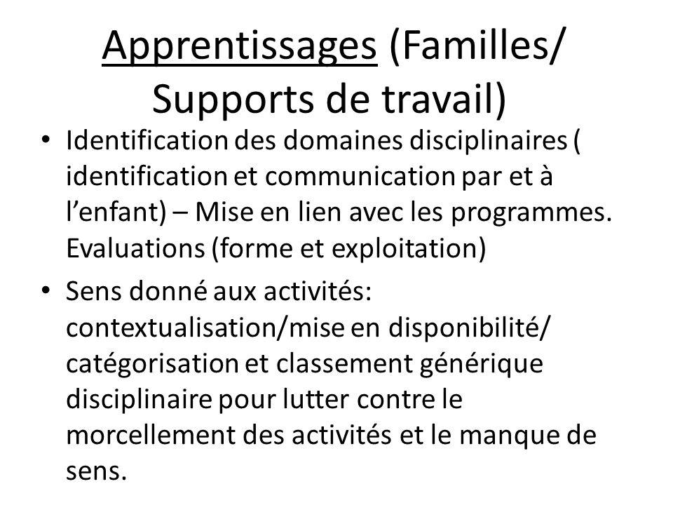 Apprentissages (Familles/ Supports de travail)