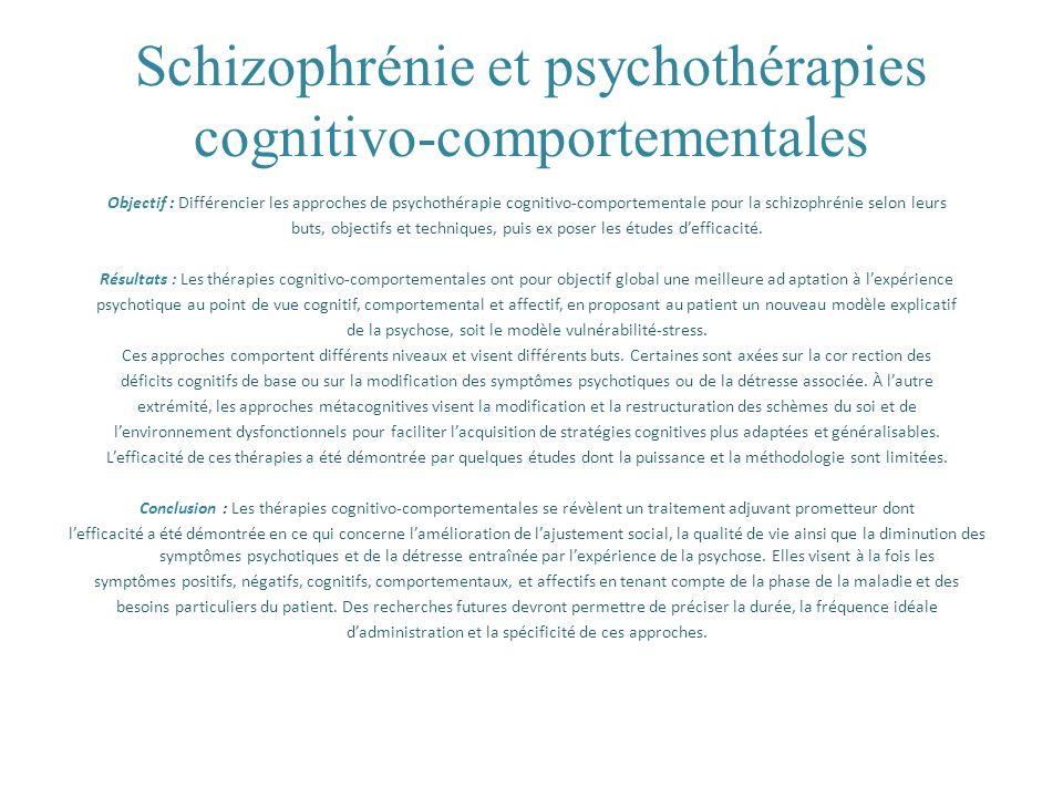 Schizophrénie et psychothérapies cognitivo-comportementales